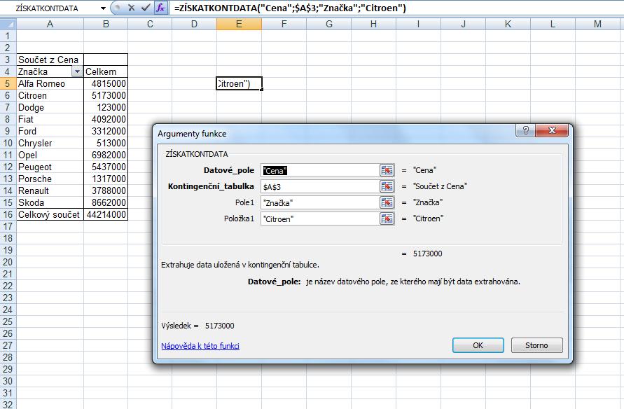 Získat data z kontingenční tabulky