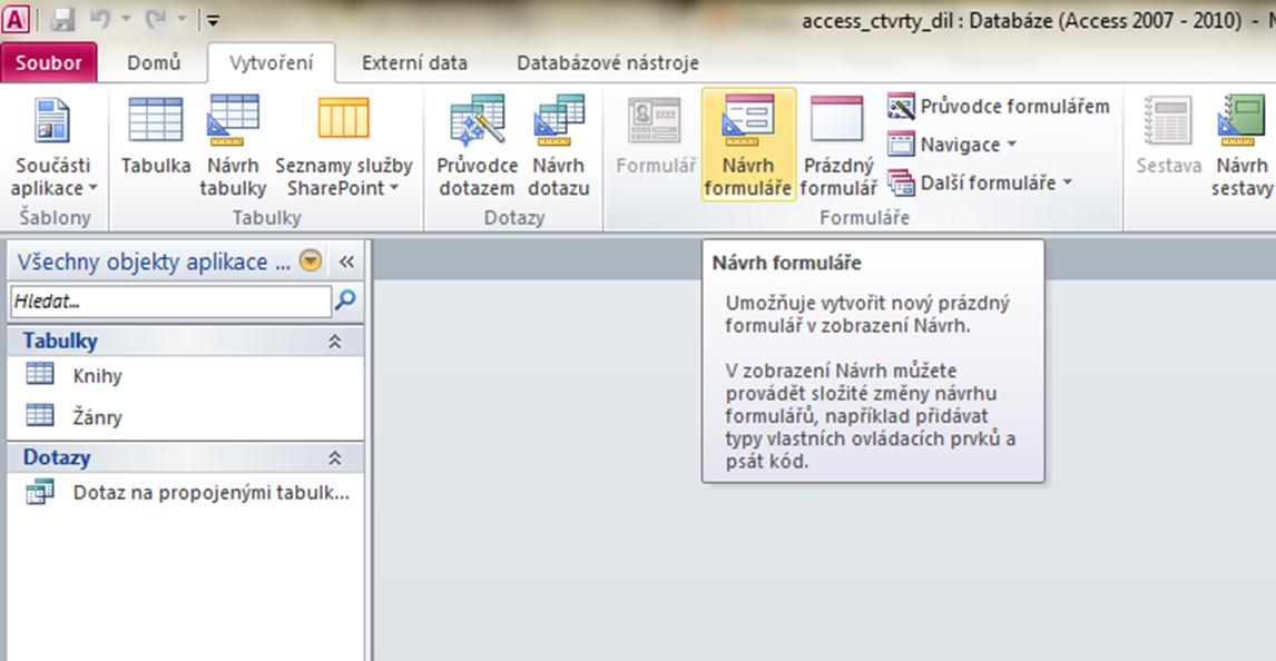 access_vytvoreni_noveho_formulare