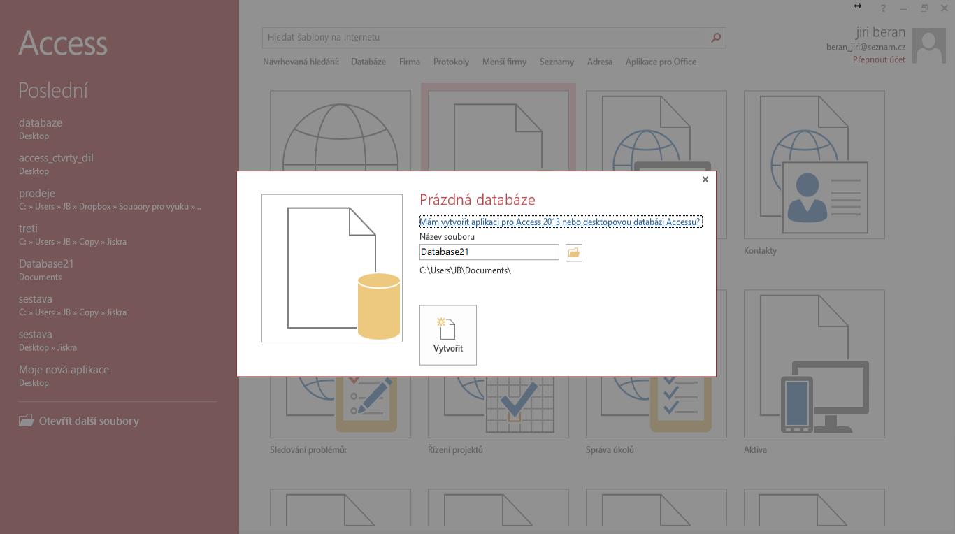 vytvoření databáze